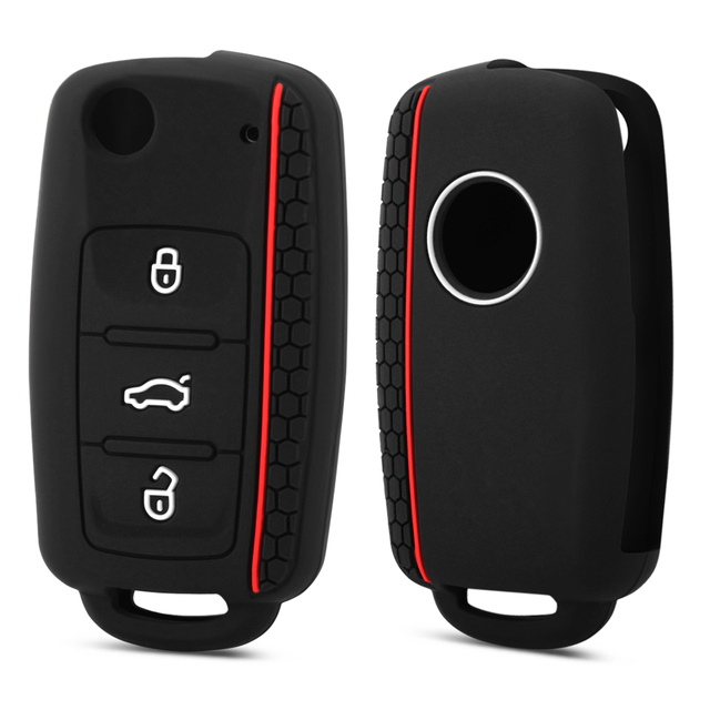 Silicone Car Key Cover Case for VW golf for Skoda Yeti Superb Rapid Octavia for SEAT leon ibiza 3 button remote key shell case