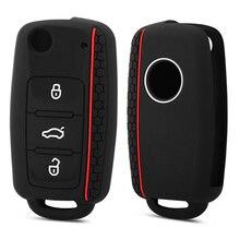 Silikon araba anahtarı kapağı durumda VW golf Skoda Yeti için süper hızlı Octavia leon ibiza 3 düğme uzaktan anahtar kabuk kılıf