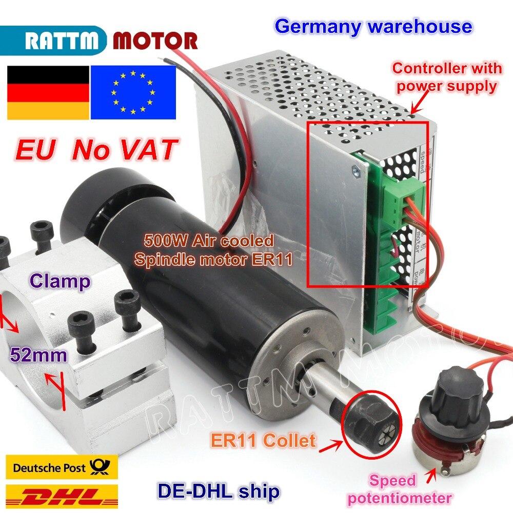 L'UE Livraison ER11 500 W 220 V Air-cooled axe moteur 12000 rpm + régulateur de vitesse + 52mm broche pinces de serrage pour CNC Routeur Fraisage