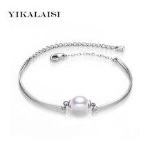 Yikalaisi 2017 pulsera Brazaletes perla joyería 100% natural perla pulseras 925 joyería de plata de ley para las mujeres