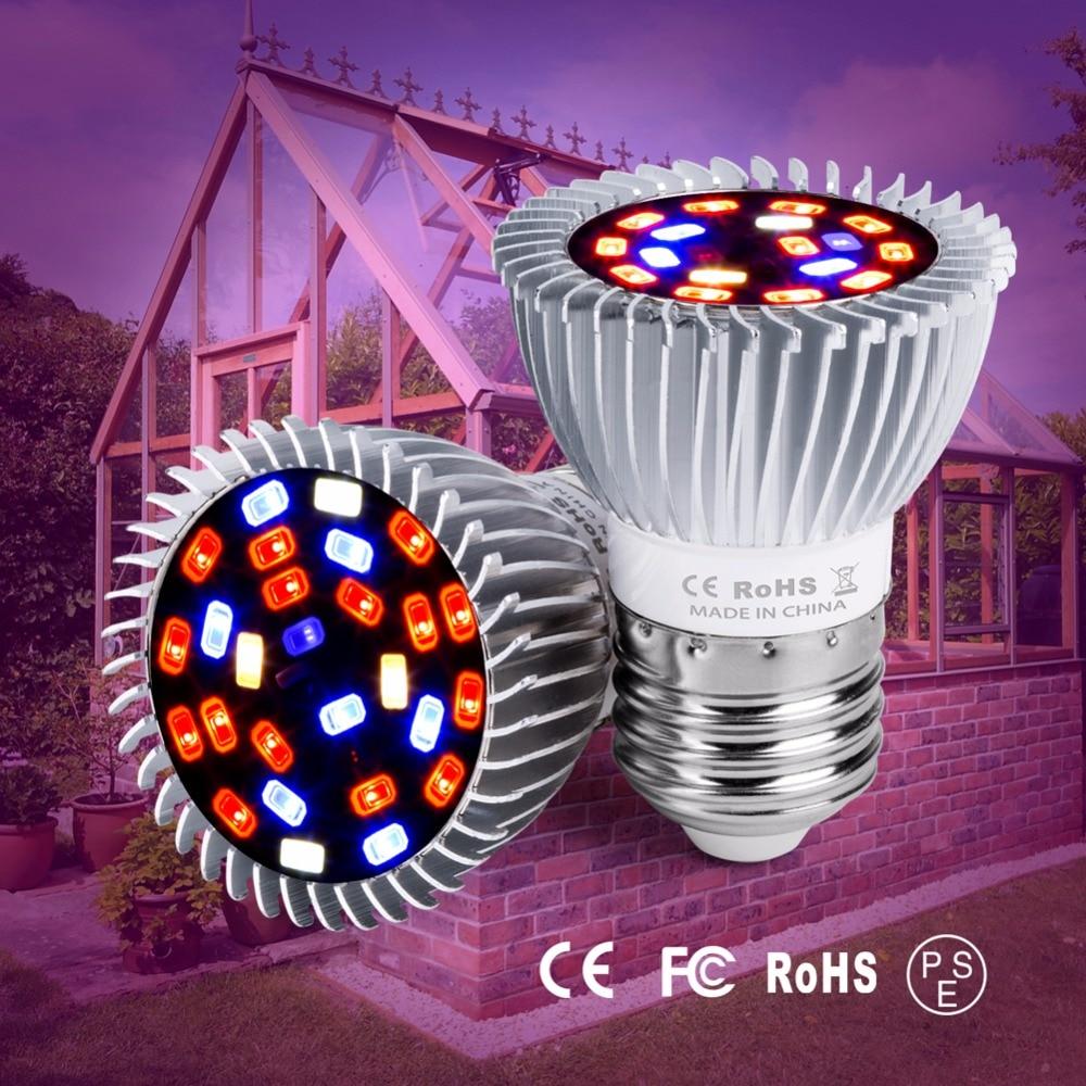 E27 LED Grow Light E14 Lamp Plant 220V Tent Indoor 5730 18W 28W Full Spectrum For Plants 110V