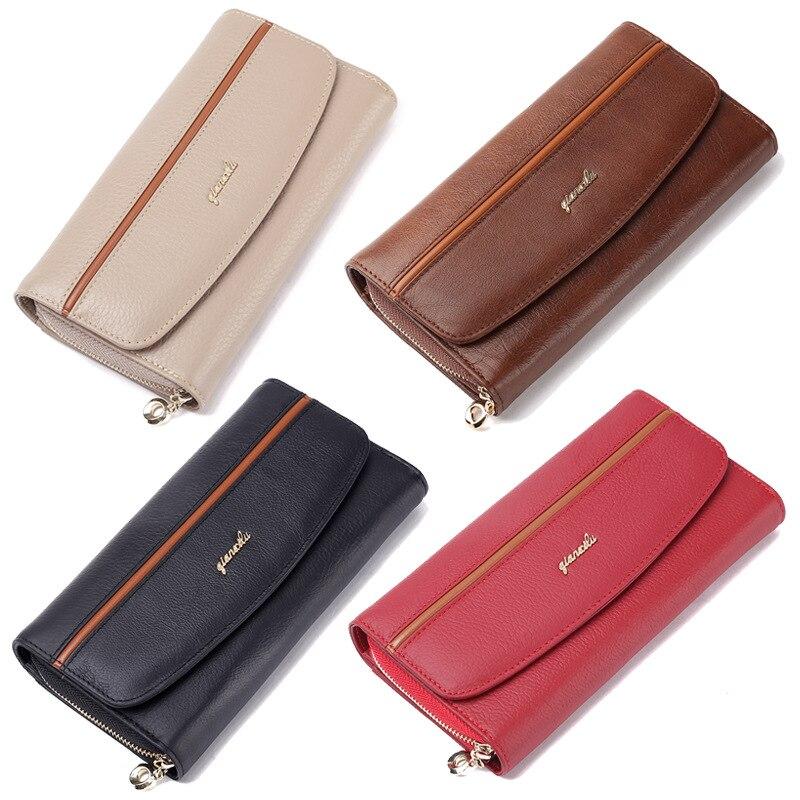 цены 2018 Genuine Leather Women's Purses Organizer Wallet Female Phone Wallets Card holder carteira feminina