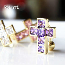 Cross Peice Anti Allergy Simple Lounger Steel Earrings Ear Nail Belly Button Rings Navel Piercing PULATU CC0170