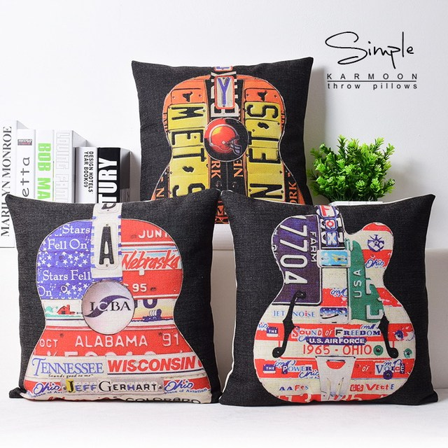 Letters Violin Music POP Art Classic Popular Emoji Pillow Massager  Decorative Pillows Euro Home Decor Beauty