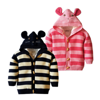 Children S Hooded Sweater 12M To 4T Cotton Striped Thick Mouse Kids Sweater Autumn Winter Baby