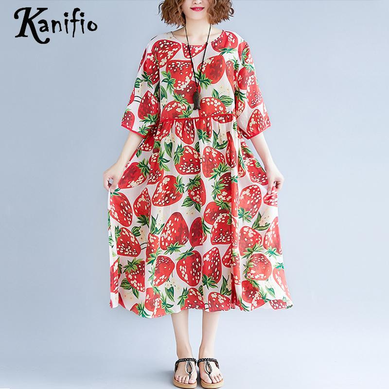 Kanifio Plus Size Women Fashion Print Boho Beach Dress Short Sleeve Summer Chiffon Long Bohemian Dresses Female Tunic Vestidios