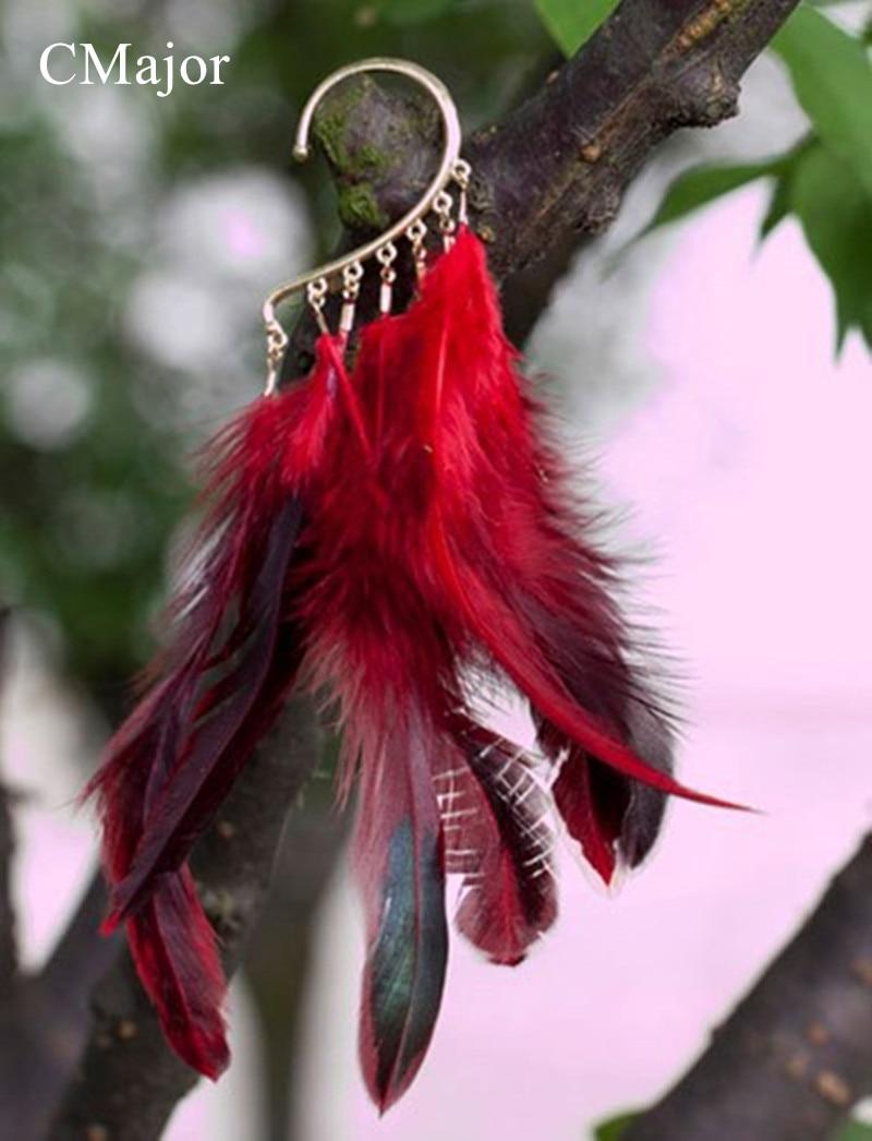 CMajor Bohemian Earrings Red Color Feather Tassels Alloy Earrings Long Ear Cuff Wrap Clip Earrings For Women
