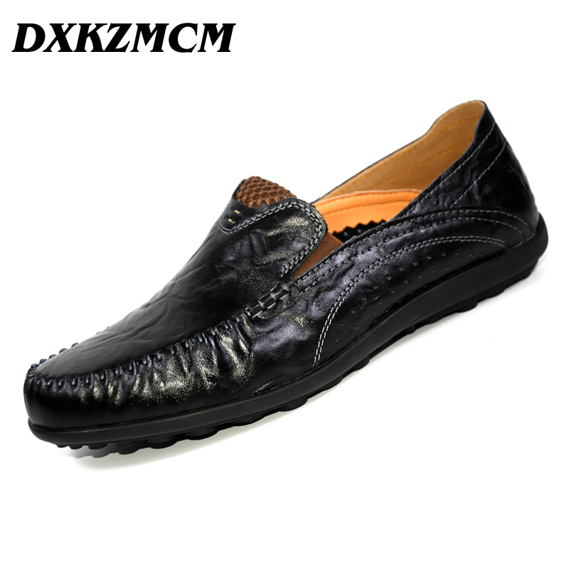 DXKZMCM Men's Casual Shoes Genuine Leather Soft Loafers for Men Slip On Moccasins Boat Flats Shoes branded men s penny loafes casual men s full grain leather emboss crocodile boat shoes slip on breathable moccasin driving shoes
