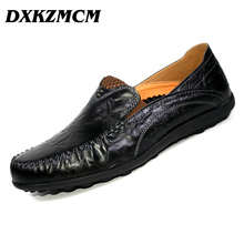 DXKZMCM Men's Casual Shoes Genuine Leather Soft Loafers for Men Slip On Moccasins Boat Flats Shoes