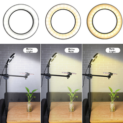 Smartphone Photographic 1.3M Tripod Adjustable Photo Floor Bracket Stand Boom Arm 20CM Ring Fill Light Lamp Live Show Shooting