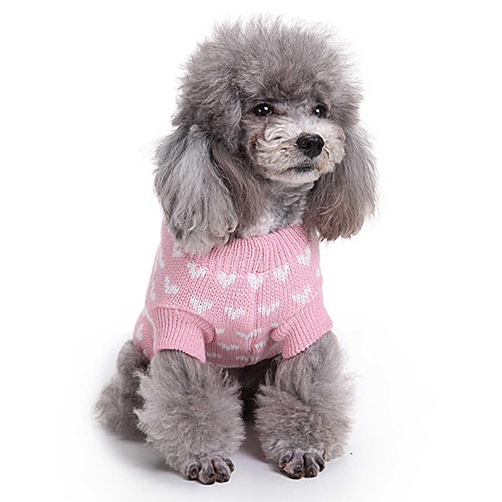 Сердце печатных собака свитер теплые пальто для будущих мам Pet Puppy Одежда