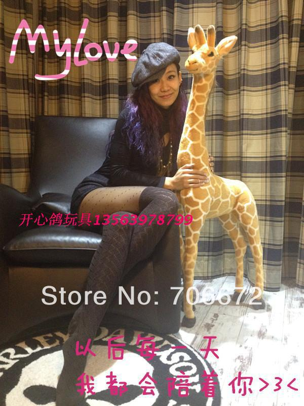 Artificial animal giraffe about 55 inch  plush toy doll lifelike giraffe huge about 140cm great gift t8835