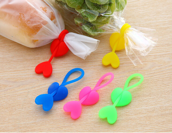 Kitchen Storage & Organization Bag Clips Nice 2016 Hot Sales New Arrivals Cute Heart Shape Kawaii Candy Colors Novelty Multifunction Silicone Household Food Bag Clips Dj07 Elegant Appearance