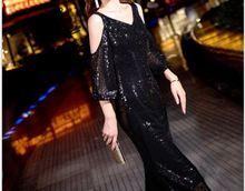 Dress female 2019 new summer middle long banquet black ladies temperament dress