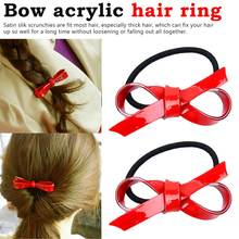 Cute Girls Smooth Acrylic Vibrant Red Bow knot Elastic Hair Bands For Women Accessories Head wear Ties Ponytail Holder