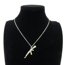 18″ Silver Rifle Gun Chain Military Pendant