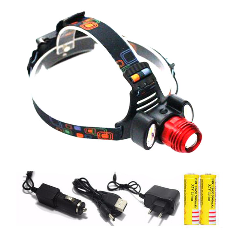 Rechargeable 9000Lm xm-T6 Led HeadLamp Rechargeable Headlight flashlight head lamp Light +2* 18650 battery +Car EU/US/AU/UK char