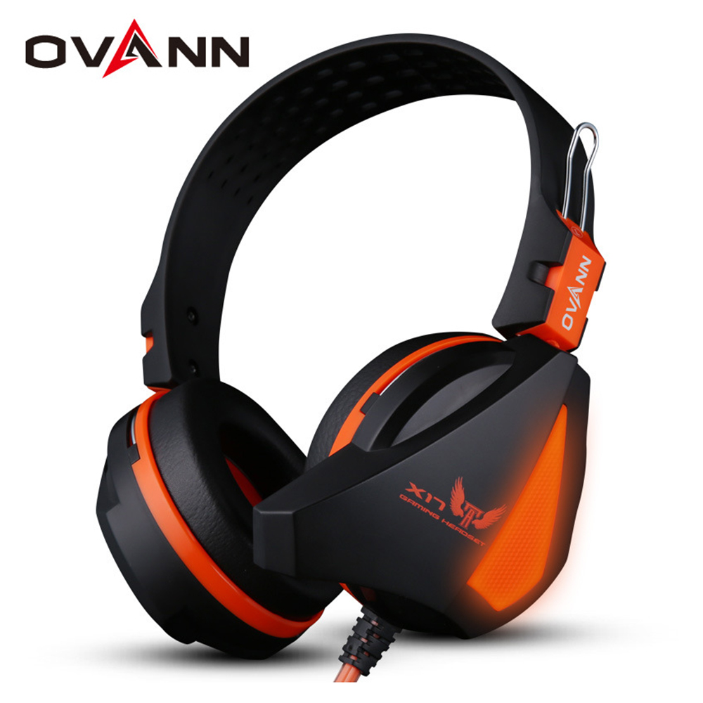 Ovann X17 Gaming Stereo Bass Headset Headphone Earphone Over Ear 3.5mm & USB Wired with Microphone for PC Computer Laptop rock y10 stereo headphone microphone stereo bass wired earphone headset for computer game with mic