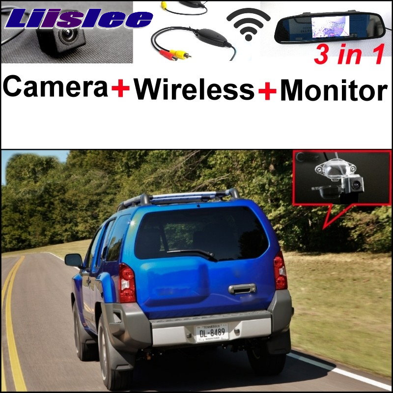 Liislee 3 in1 Special Camera + Mirror Monitor Easy DIY Back Up  Parking System + Wireless Receiver For Nissan Xterra 2005~2015 wireless pager system 433 92mhz wireless restaurant table buzzer with monitor and watch receiver 3 display 42 call button