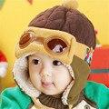 Crianças Chapéu Do Inverno Piloto Cap Earflap Bebê Grosso Gorro de Cashmere chapéu Bombardeiro para Cool Boy Gorro Do Bebê Chapéus de Inverno Aviador Cap