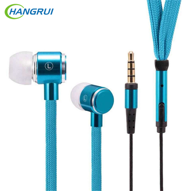 HANGRUI Shoelaces In Ear earphones metal subwoofer Earphone with Microphone Bass earbuds MP3 Headset For iphone samsung xiaomi