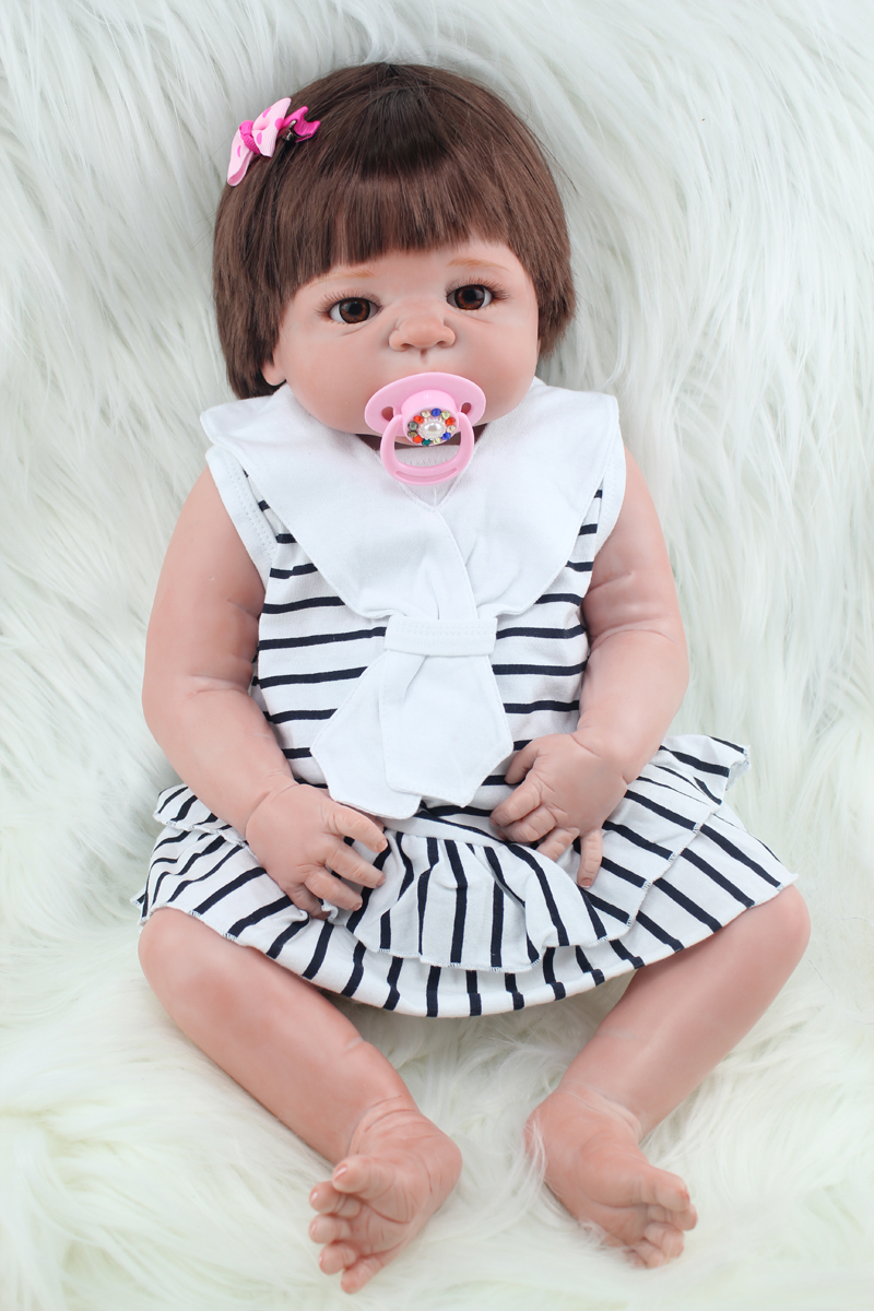Full body silicone reborn girl baby doll toys 55cm newborn babies doll fashion birthday gift present girls brinquedos bathe toy full silicone body reborn baby doll toys 55cm princess newborn girl babies doll kids birthday present bathe toy girls brinquedos