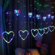 Купить с кэшбэком Led Curtain Lights String Light 138 Leds 4.5M Christmas Party Wedding Fairy Lights Heart-shaped Icicle Decorative Lights