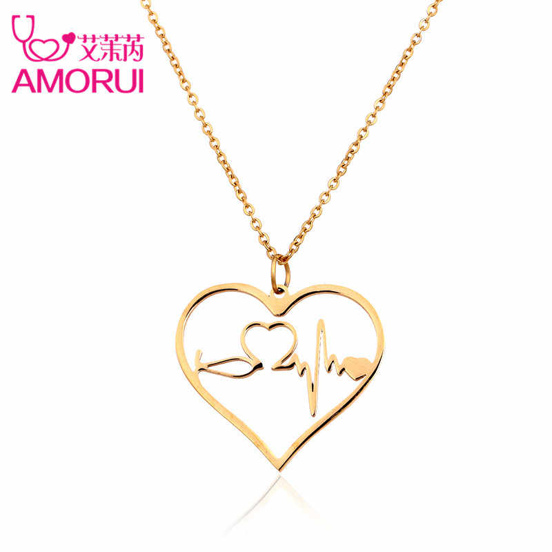 6f9da504e AMORUI Heartbeat Women Heart Stethoscope Pendant Necklace Stainless Steel  Women Chain Necklace Rose Gold Silver Ladies