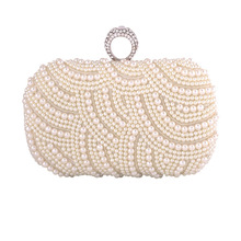 Bamboo Charm Fashion Pearl Beading Wedding Bridal Clutch Evening Party Pouch For Women Solid Flap Handbag Shoulder Crossbody Bag
