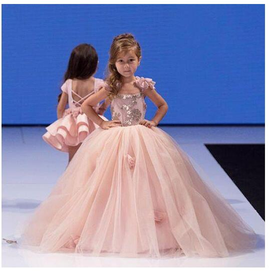 Girls Formal Dress 2017 Flower Girls Princess Dresses Kids Lace Floor Length Sequins Party Ball Gown Children's Wedding Dress floor length plus size lace formal dress