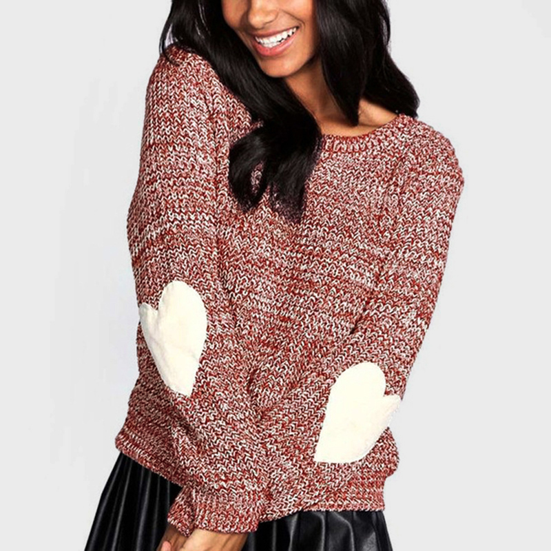 Autumn Spring Sweaters Women Loose Knitted Sweater Elbow Heart Patch Solid  Long Sleeve Pullover female Casual Knit Tops Jumper 541318800