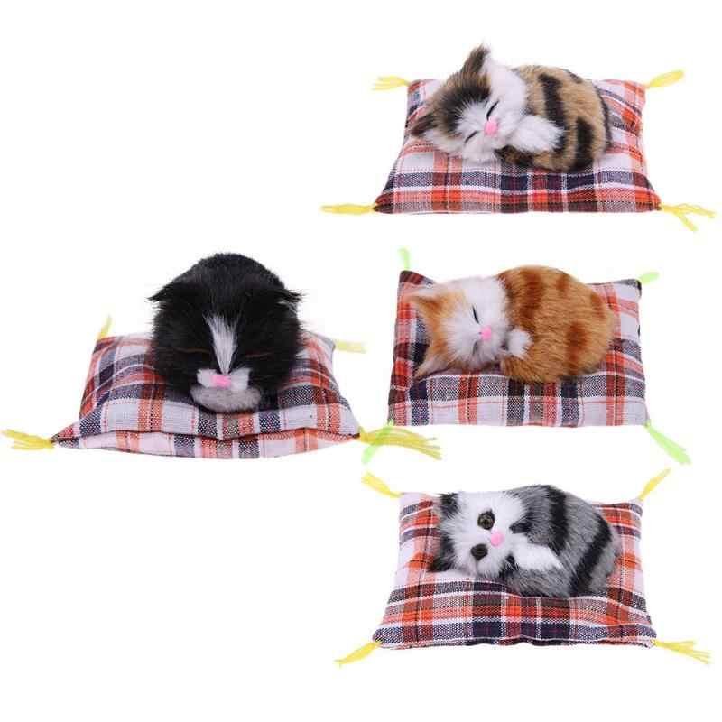 귀여운 시뮬레이션 플러시 잠자는 고양이 인형 인형 peluche 고양이 둥지 어린이 생일 선물 어린이 선물 사진 고양이 장난감