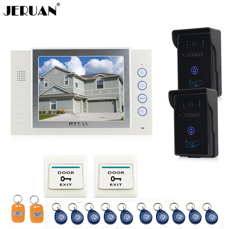 JERUAN 8`` video door phone doorbell intercom system home access control system video recoreding photo taking with 10 RFID 8 inch video door phone doorbell intercom system home access control system rfid video recoreding and photo storage and playback