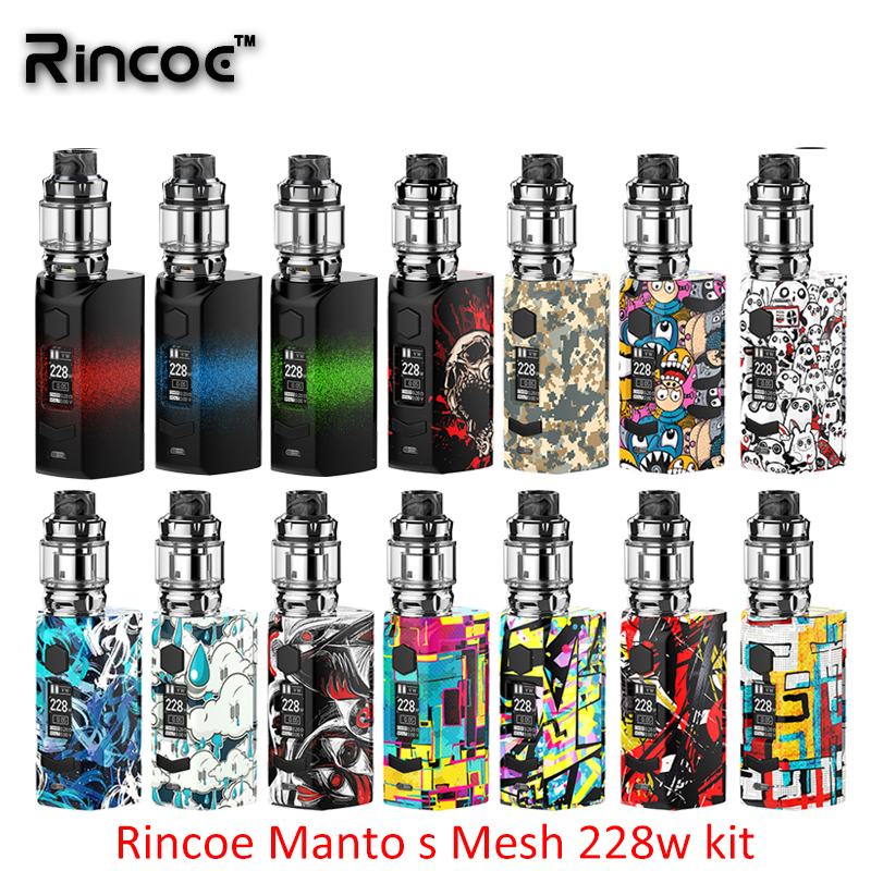 Newest Rincoe Manto S Mesh 228W Kit Manto S Mesh box mod with 6ml Metis Mix