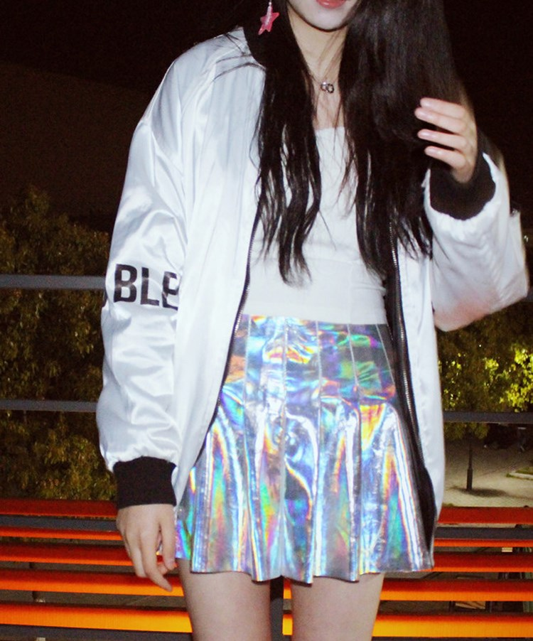 2017 Punk Style Summer Women Harajuku Skirt Holographic Hologram Metallic Skirt Silver Pleated Mini Skirt Saia Structural Disabilities