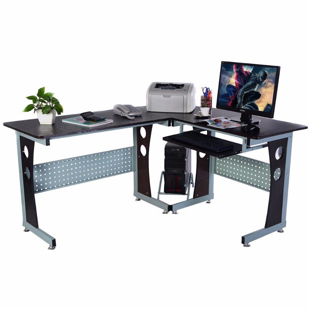 Goplus большие деревянные L Форма угловой компьютерный стол офиса PC ноутбук станции таблицы современный Офисная мебель HW51292 +