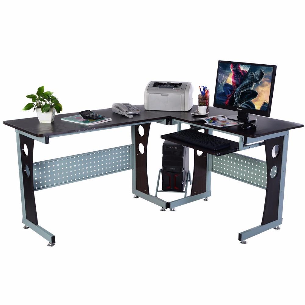 Goplus Large Wood L Shape Corner Computer Desk Office PC Laptop Table Workstation Modern Home Office Furniture HW51292+