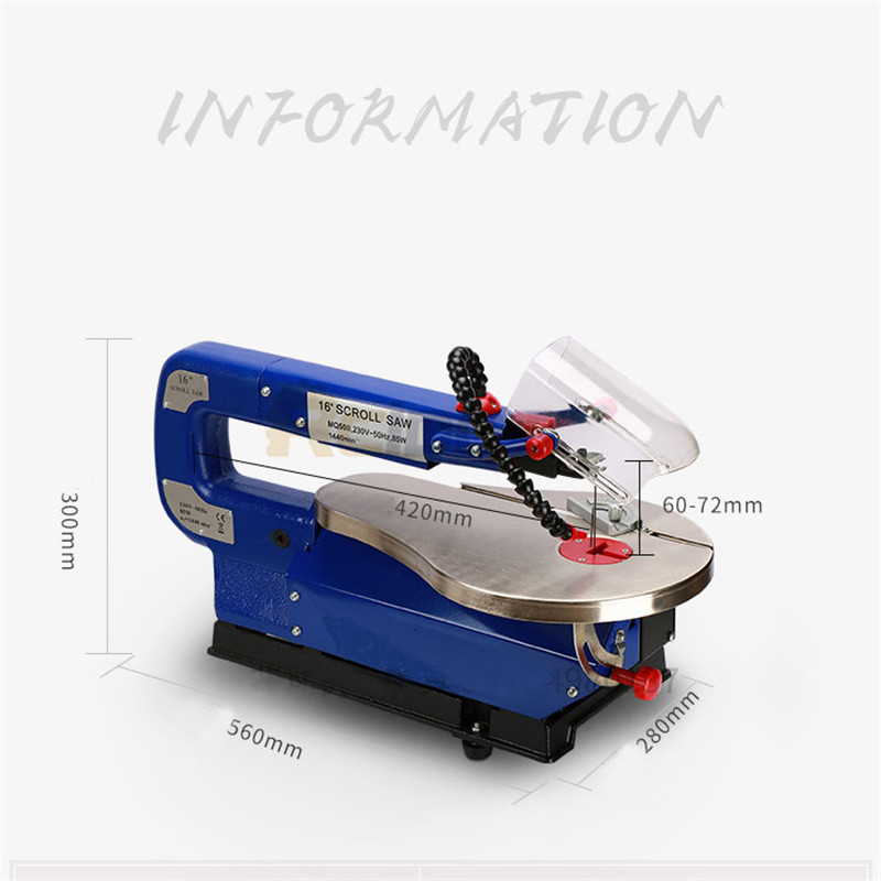 MQ5II 16inch Scroll Saw RCIDOS Mini table saw/Desktop DIY wood Curve Cutting machine,Plastic/Acrylic cutter,220V