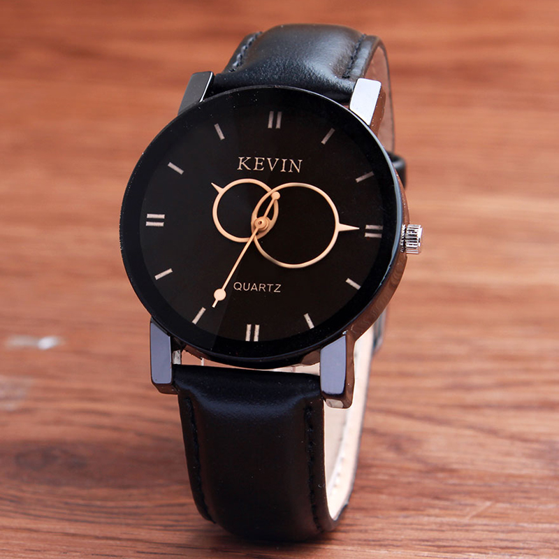 KEVIN New Fashion Design Women Watches Fashion Black Round Dial PU Leather Band Quartz Wrist Watch Mens Gifts relogios feminino diniho fashion lady s pu leather band round dial quartz waterproof wrist watch black 1 x lr626