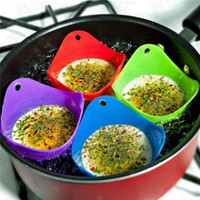 4pcs Egg Fried Fry Frier Silicone Poacher Poach Poaching Kitchen Cook Poached Cup Pods Pan Mould Baking Cooking Tool