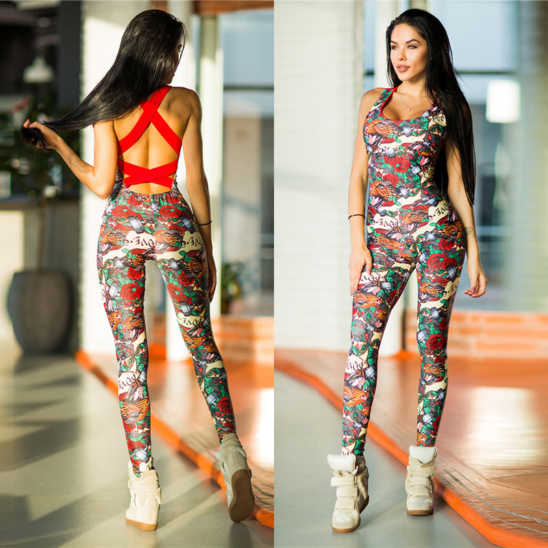 e817bda126e Detail Feedback Questions about 2018 Cross Bandage Rose Floral Prints Backless  Sporting Femme Bodysuit Playsuit Overalls Sexy Tights Fitness Women  Jumpsuits ...