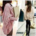 201 + novo outono e inverno grossa malha batwing camisola de manga do casaco soltas capa das mulheres camisola casacos outerwear & jaquetas