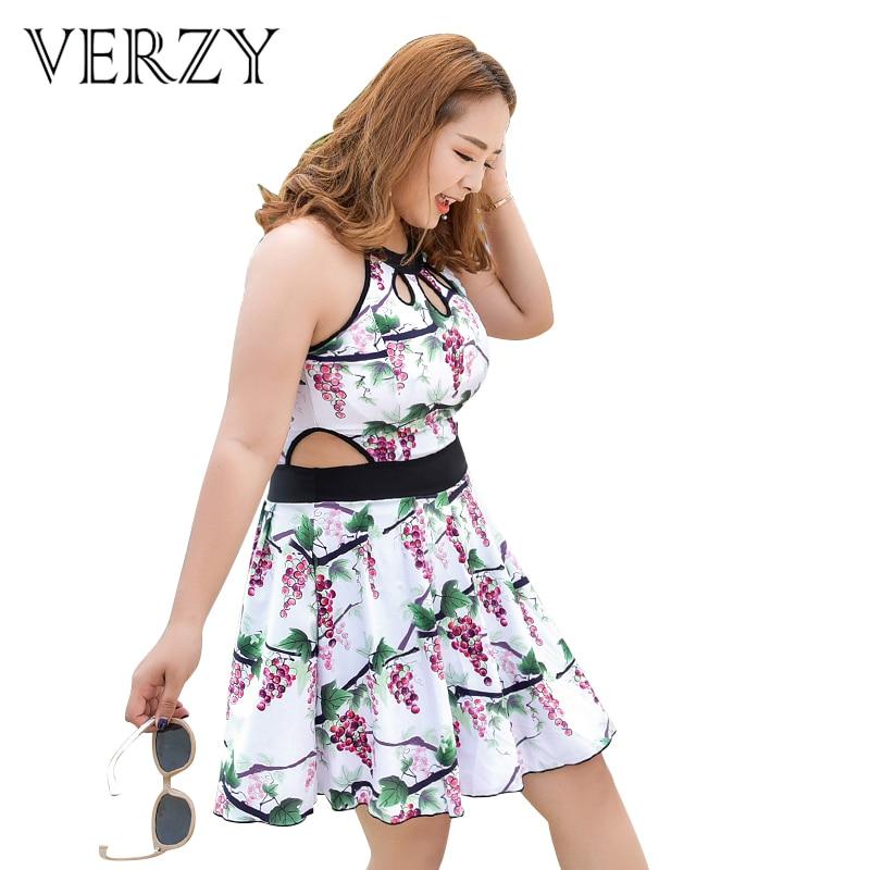 Verzy Women One-piece Suits Plus Size Skirt Swimsuit Fat Girl Tassel Sunscreen Retro Push Up 3XL-6XL Newest Fruit Print Dress plus size scalloped backless one piece swimsuit