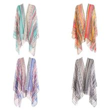 Women Sweet Candy Color Summer Bikini Cover Up Rainbow Colorful Geometric Graphic Pattern Kimono Cardigan Semi-Sheer Scarf Shawl