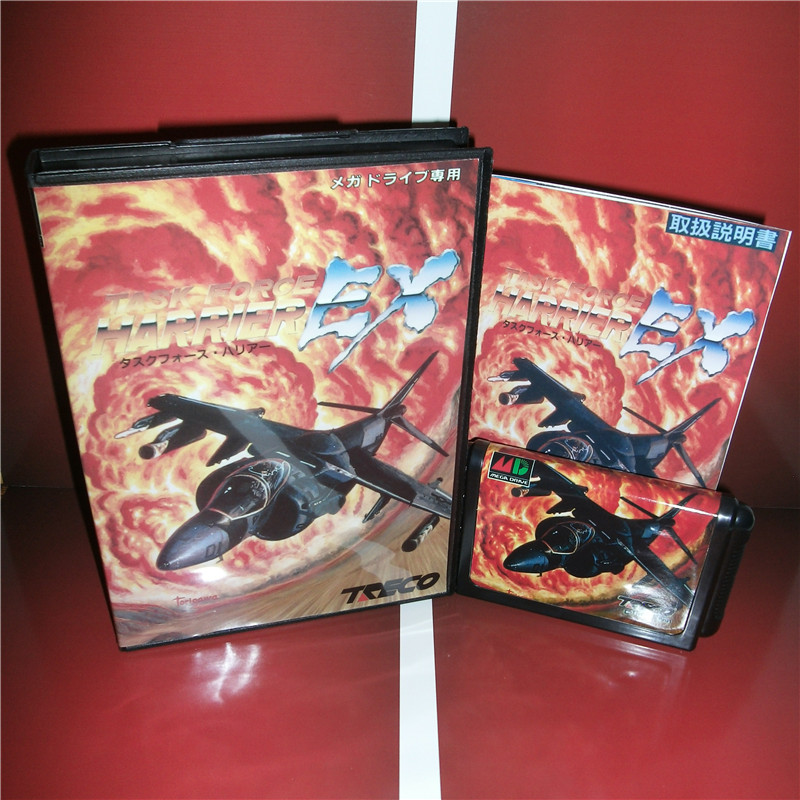 Task Force Harrier EX Japan Cover with box and English manual For Sega Megadrive Genesis Video Game Console 16 bit MD card
