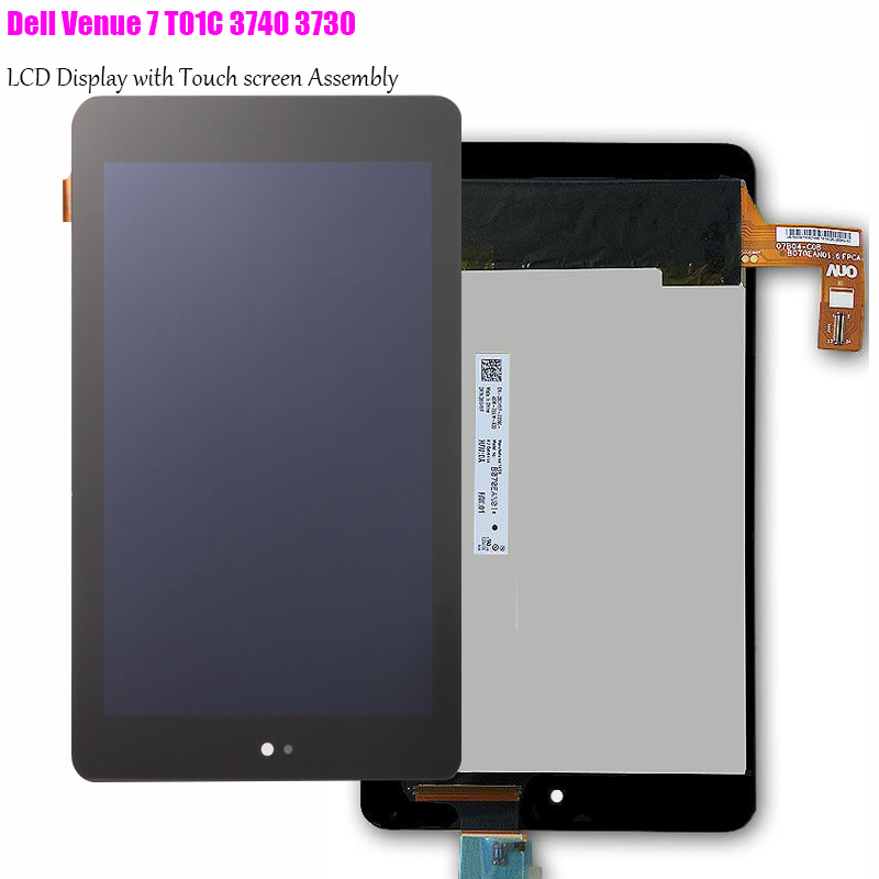 For Dell Venue 7 T01C 3740 3730 Tablet PC Touch Screen Digitizer+LCD Display Assembly Parts Replace panel bqt high quality digitizer touch screen 7inch for dell venue 7 tablet 3740 3730 touch screen with digitizer panel front glass