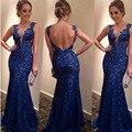Vestidos De Noite longos Rendas Kaftan Azul Transparente Backless Vestido de Festa Noite Elegante Robe De Soirée Vestidos de Festa Longo