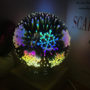 Image 3 - 3D Magical Crystal Glass Ball Night Light Colorful USB Power Table Lamps Butterfly Snowflake Universe Rose Lover Home Kids Gifts