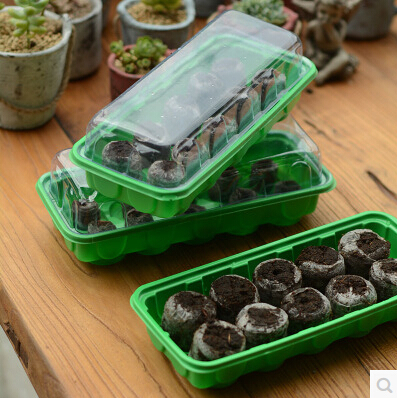 El envío libre, 3pcs 10hole nursery tray + 30pcs 38mm jiffy block, ponga la semilla, bonsai, flower.nursery plástico plántula de plántulas, crecer plantando