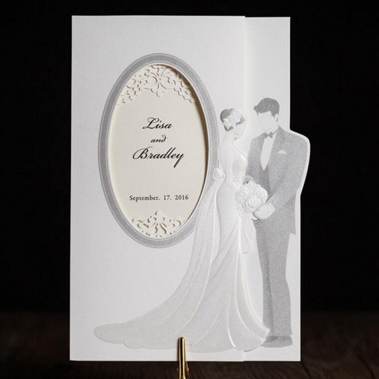 50pcs/pack Customized Wedding Invitations Elegant Bride and Groom Invitation Cards with Envelopes and Seals Wedding Decoration 50pcs pack laser cut wedding invitations cards elegant flowers free printing birthday party invitation card casamento